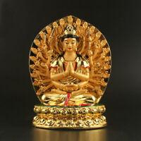 19CMTibet Buddhism Resin Gild 1000 Arms Avalokiteshvara Kwan-yin Guan Yin Statue