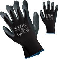 Arbeitshandschuhe 12 PAAR Handschuhe Schutzhandschuhe Nitril Schwarz Gr. 7-10