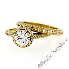 Tacori 18k Gold .79ct GIA Round Diamond Solitaire Engagement & Wedding Band Set