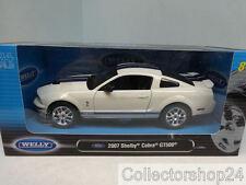 Welly : Shelby Cobra GT500, white/met.-blue , 2007 , 1:24