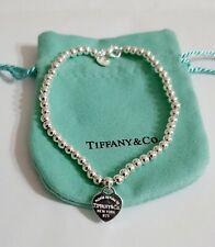 Bracciale Tiffani donna mini cuore ag  e sfere mm.0.4, lungo 18 cm silver925