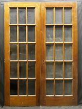 """2avail 60""""x84"""" Pair Antique Vintage Wood Wooden French Double Doors Window Glass"""