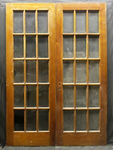 """60""""x84""""x1.75"""" Pair Antique Vintage Wood Wooden French Double Doors Window Glass"""