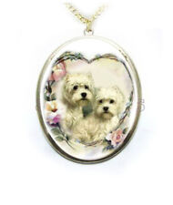 Westie West Highland Terrier Dog Rose Heart Wreath Porcelain Cameo Necklace New