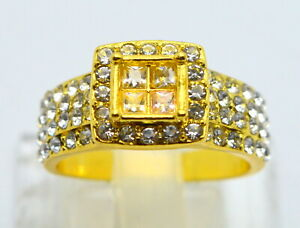 925 SILVER RING GOLD PLATED WITH WHITE ZIRCONS (US 8) 4,93g