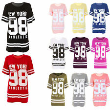 e41e3bc6 Womens Ladies USA American Varsity Baseball Oversize Baggy T Shirt Top Plus  Size