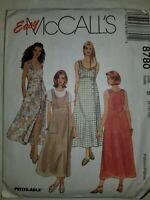 Dress Jumper Sewing Pattern Size 8 10 12 McCalls 8780 UC FF Womens Sleeveless