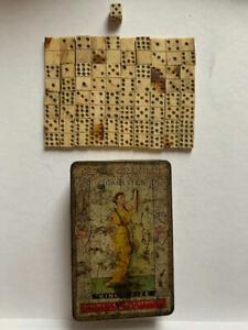 40 19thcentury antique bovine bone Prisoner of War Dominoes 1 dice cigarette tin