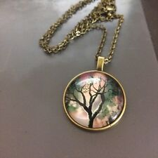 Women's Tree Of Life Pendant Glass Cabochon Necklace Jewellery Gift UK