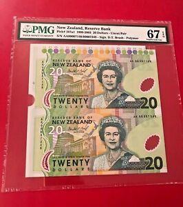 New Zealand, RESERVE BANK 1999-2003 20 DOLLARS PMG 67 EPQ SUPERB GEM UNCUT PAIR