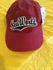 SEA WORLD RED Maroon BASEBALL CAP Embroidered logo Hat