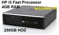 Hp Compaq Elite i3 Computer fast desktop Sff PC 4GB Ram 250GB Hdd Windows 10