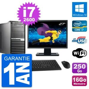 "PC Tour Acer M2610G Ecran 27"" Core i7-2600 RAM 16Go Disque 250Go Windows 10 Wifi"