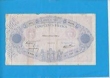 """500 Francs BLEU ET ROSE TYPE 1888 """"modifié""""  du 30-06-1938  M.3024"""