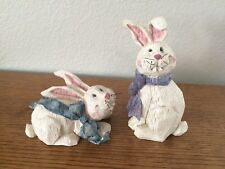 Set of 2 Resin Bunnies Rabbits Made To Look Like Carved Wood Adorable Easter