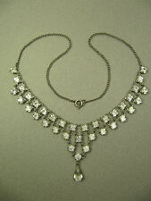 Vintage 50s Faceted Clear Crystal Rhinestone Festoon Necklace