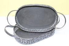 Tablett Deko Schale Metall groß 37cm vintage shabby Ostern Korb Osterkörbchen