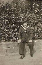 WWII German Navy RP- Kriegsmarine- Sailor- Uniform- Hat- Home on Leave- Sitting