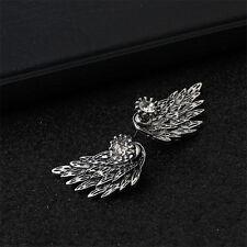 Fashion Women Angel Feather Wing Earrings Rhinestone Hook Ear Stud Hoop Gift