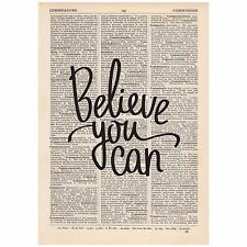 Believe You Can Dictionary Print Vintage, Art, Unique, Gift, Inspirational Quote