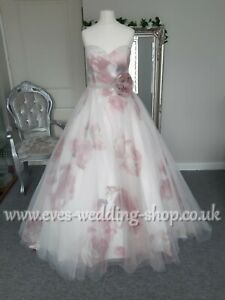 Veromia ivory/pink wedding dress UK size 12 - check measurements