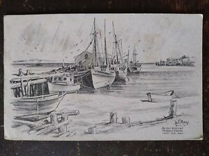 On the Beach at Provincetown, MA, Signed Jas F Murray - 1953, Rough Edges