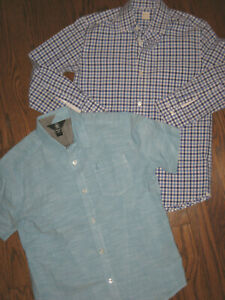 lot boys 12 shirts tops button up down blue Crewcuts Volcom short long sleeve