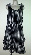 Allegra K, Black & White, Polka Dot Chiffon A-Line Tiered Bowtie Tank Top sz. XL