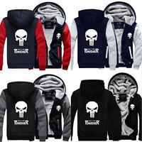 Unisex Winter Punisher Skull Coat Zipper Hoodie Fleece Thicken Jacket Sweatsh UK