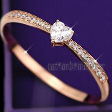18K ROSE GOLD GF HEART SIGNITY DIAMOND Womens Girl WEDDING BANGLE BRACELET GIFT