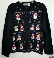 BP Design Christmas Cardigan Sweater Zip Front Size XL
