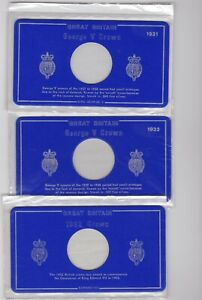 EIGHT NEW EMPTY BLUE CARD CROWN DISPLAY CASES NO DATE TO 1951