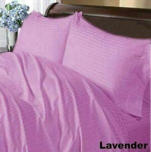 Lavender Striped Split Corner Bed Skirt Choose Drop Length US Size 800 Count
