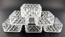 New listing Set Of 6 Vintage Square Crystal Glass Napkin Rings (E34)