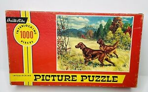 Vintage Built Rite Hunting Dogs Picture Puzzle Over 1000 Pcs # 1000-98