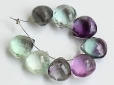 Natural Fluorite Faceted Heart Briolette Semi Precious Gemstone Beads