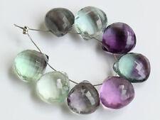 Natural Fluorite Faceted Heart Briolette Semi Precious Gemstone Beads