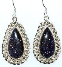 """Blue Sunstone Sterling SILVER Earrings Unique 925 Handmade Jewelry, 2"""" long Drop"""