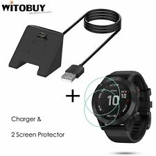 Replacement Charger + 2 pcs Tempered Glass Screen Protector For Garmin Fenix 6s
