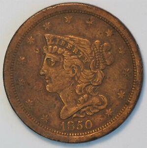 1850 1/2C Braided Hair Half Cent United States Coin  C0131