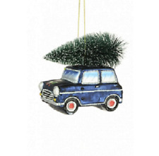 Luxury Glass BLUE Mini Car Bauble Christmas Tree Decorations Tree on Roof 10 cm
