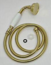 "Brass&Ceramics New Telephone Hand Held Shower Head&Hose G1/2"" PVD-TI Gold Finish"