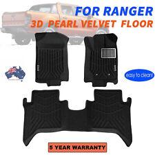 Fit Ford Ranger PX PX2 PX3 Dual Cab 2011-2019 3D Black Pearl Velvet Floor Mats