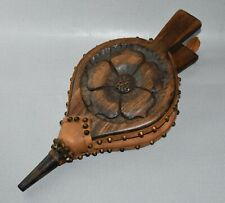 VINTAGE HARRY TONKIN CORNWALL CARVED OAK ENGLISH ROSE BELLOWS