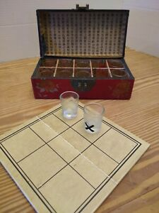 VINTAGE Chinese Tic Tac Toe Shot Drinking Game, Leather Box, Leather Board VGC