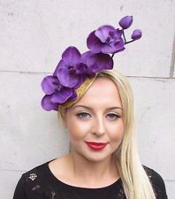 Purple Gold Lace Orchid Flower Fascinator Hat Pillbox Races Elastic Wedding 3394