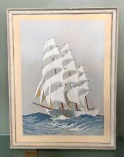 Leon HAFFNER - Gouache sur papier - regate-marine-peintre officiel de la marine