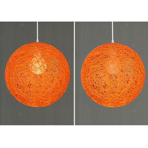 Modern Rattan Wicker Globe Lamp Shade Ceiling Pendant Lampshade with Hole 20cm