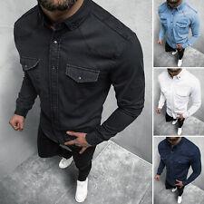 Jeanshemd Freizeit Denim Hemd Langarm Shirt Kentragen Jeans OZONEE 3466Z Herren