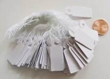 100 Etiquettes pour prix bijoux carton papier blanc + fil  11x29mm
